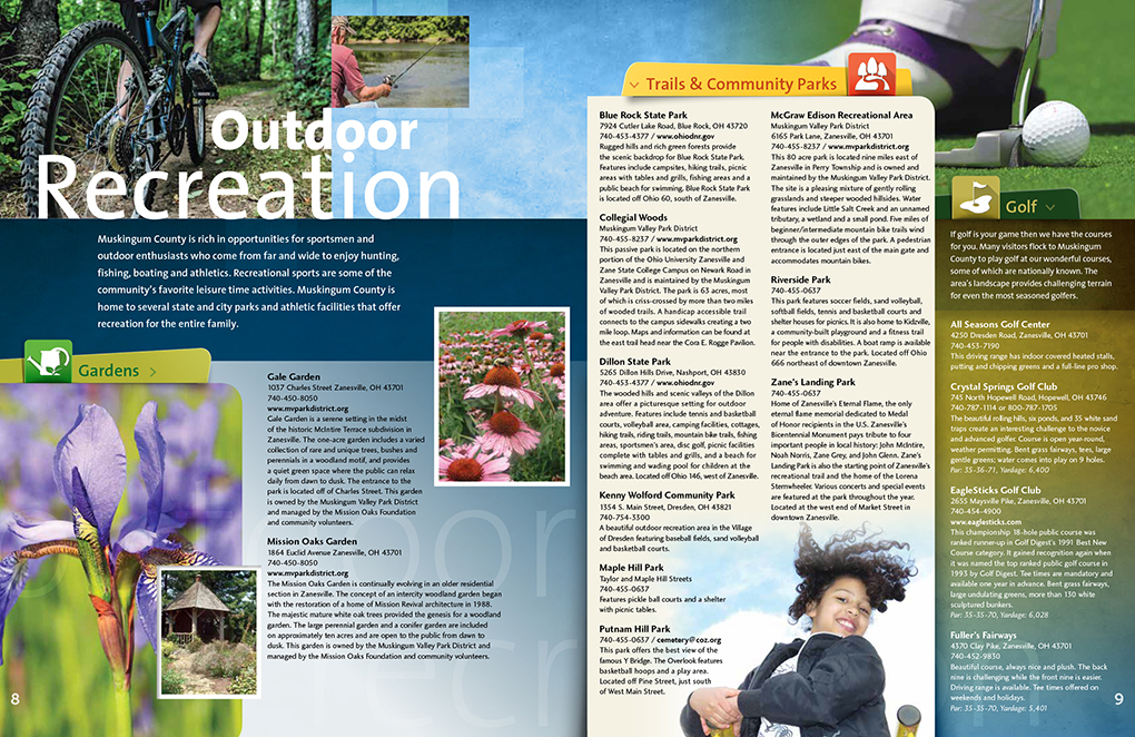 Visitors guide art design and layout