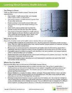 Westchester Education Services CTE worksheet sample